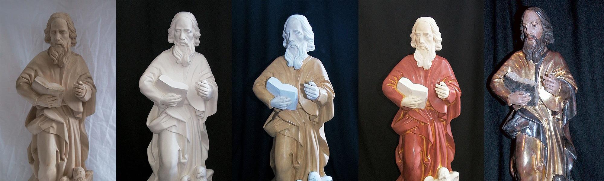 Rekonstruktion monochrom und polychrom gefasster historischer Objekte